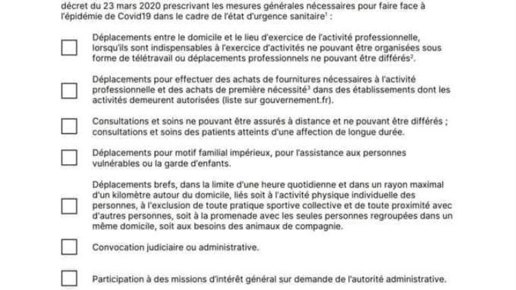 Nouvelle attestation de déplacement dérogatoire : 24.03.20