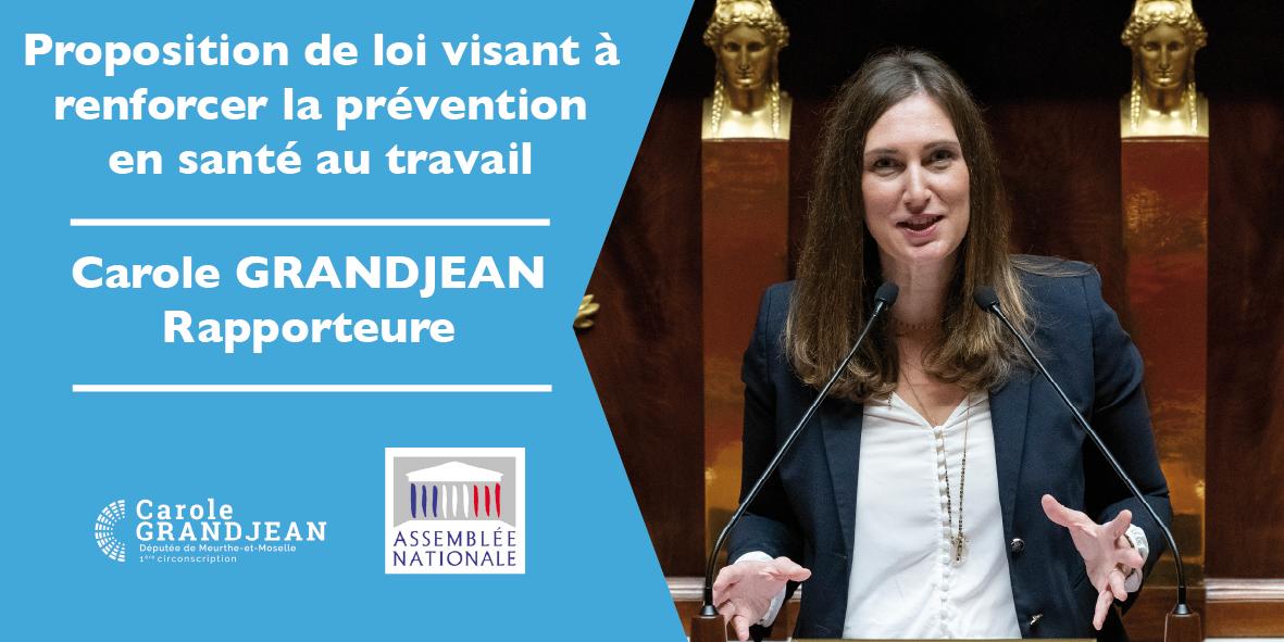 rapporteure de la proposition de loi visant à renforcer la prévention en Santé au Travail  – 13 janvier 2021