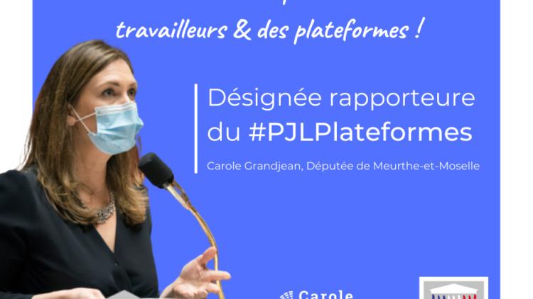 Désignée rapporteure du PJL Plateformes – 14 septembre 2021